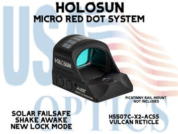 """HOLOSUN PISTOL RED DOT SIGHT - ACSS VULCAN RETICLE (PICATINNY RAIL MOUNT NOT INCLUDED)<STRONG><FONT COLOR = """"RED""""> - NEW PRODUCT</FONT><BR></STRONG>"""