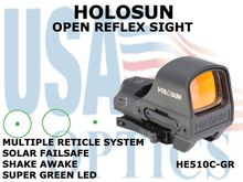 HOLOSUN OPEN REFLEX SIGHT - GREEN - BATTERY/SOLAR