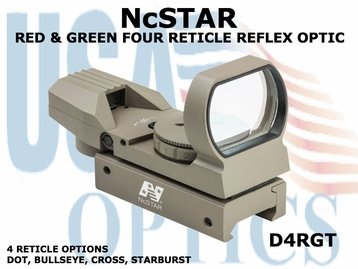 NcSTAR RED & GREEN FOUR RETICLE REFLEX OPTIC