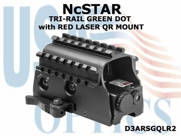 NcSTAR TRI-RAIL GREEN DOT with RED LASER QR MOUNT
