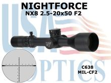 NIGHTFORCE NX8 2.5-20x50 F2 MIL - CF2 - .1MIL