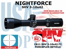 NIGHTFORCE SHV 3-10x42 FORCEPLEX ILLUMINATED