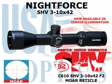 NIGHTFORCE SHV 3-10x42 MOAR ILLUMINATED