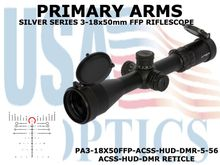 PRIMARY ARMS SLx6 3-18x50mm FFP RIFLE SCOPE - ILLUMINATED ACSS-HUD-DMR-5.56