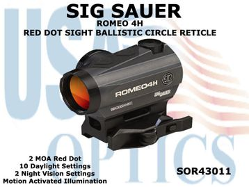 SIG SAUER ROMEO 4H RED DOT SIGHT BALLISTIC CIRCLE - GRAPHITE