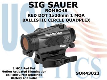 SIG SAUER ROMEO4S RED DOT 1x20mm 1 MOA BALLISTIC CIRCLE QUADPLEX - GRAPHITE