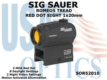 """SIG SAUER ROMEO5 TREAD RED DOT SIGHT 1x20mm - <strong><font color=""""RED"""">THIS ITEM IS NOT READILY AVAILABLE - PLEASE CONTACT US PRIOR TO ORDERING</font></strong>"""