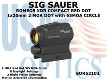 SIG SAUER ROMEO5 XDR COMPACT RED DOT 1x20mm 2 MOA DOT with 65MOA CIRCLE