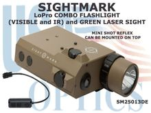 SIGHTMARK LoPro COMBO FLASHLIGHT (VISIBLE and IR) and GREEN LASER SIGHT - DARK EARTH