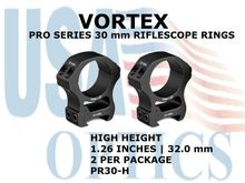 VORTEX PRO SERIES 30 mm RIFLESCOPE RINGS - HIGH HEIGHT [1.26 Inches | 32.0 mm]