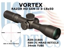 VORTEX RAZOR HD GEN II 3-18x50 EBR-7C MRAD RETICLE | 34mm TUBE