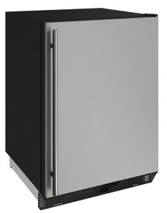 "1024RS-00A U-Line 24"" 1000 Series Solid Door Refrigerator - Field Reversible - Stainless Steel"