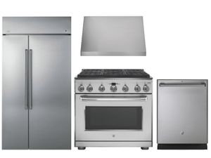 Package Cafe5 - Cafe Appliances Built In Package - 4 Piece Cafe Appliance Package with Professional Gas Range - Includes Free Hood -Stainless Steel