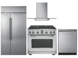 Package Cafe5 - Cafe Appliances Built In Package - 4 Piece Cafe Appliance Package with Professional Gas Range -Stainless Steel
