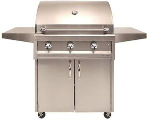 "AAEP32CLP Artisan 32"" American Eagle Series Liquid Propane Grill and Cart with 3 Stainless Steel U-Burners and Push Button Ignition - Stainless Steel"