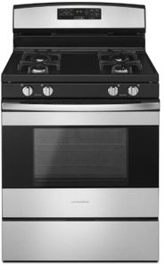 """AGR6603SFS Amana 30"""" Free Standing Gas Range with SelfClean Option and Temp Assure Cooking System - Black on Stainless Steel"""