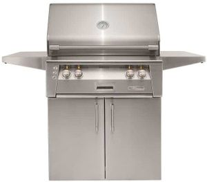 """ALXE30SZCNG Alfresco 30"""" Two-Burner Grill with Infrared Rotisserie, SearZone & Standard Cart - Natural Gas - Stainless Steel"""