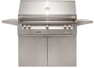 """ALXE42CNG Alfresco 42"""" 3-Burner Grill with Infrared Rotisserie System & Standard Cart - Natural Gas - Stainless Steel"""