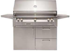 "ALXE42SZCDLP Alfresco 42"" 3-Burner Grill with Rotisserie System, SearZone & Deluxe Cart - LP Gas - Stainless Steel"