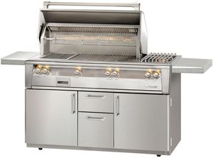 "ALXE56SZCLP Alfresco 56"" Grill with SearZone, Deluxe Cart & Sideburner - LP Gas - Stainless Steel"