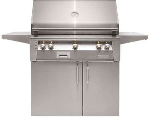 "ALXE36CNG Alfresco 36"" 3-Burner Grill with Infrared Rotisserie System & Standard Cart - Natural Gas - Stainless Steel"