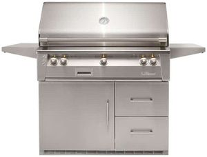"""ALXE42SZRFGNG Alfresco 42"""" 3-Burner Grill with Infrared Rotisserie, SearZone & Refrigerated Cart Base - Natural Gas - Stainless Steel"""