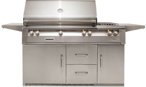 "ALXE56RNG Alfresco 56"" Outdoor Grill with Rotisserie, Sideburner & Refrigerated Cart Base - Natural Gas - Stainless Steel"