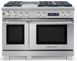 "ARR-486GRDFN American Range Medallion 48"" Dual Fuel Range with Sealed Gas Burners, Grill,  Gas Oven & Electric Oven - Natural Gas - Stainless Steel"