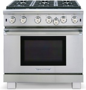 """ARR-636N American Range Cuisine 36"""" All Gas Range with Sealed Gas Burners & Convection Oven - Natural Gas - Stainless Steel"""