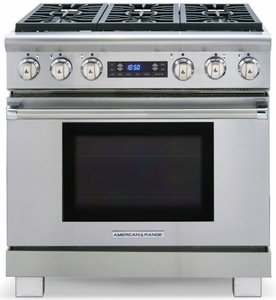 "ARR-364GRDFN American Range Medallion 36"" Dual Fuel Range with Sealed Gas Burners, Grill & Electric Oven - Natural Gas - Stainless Steel"