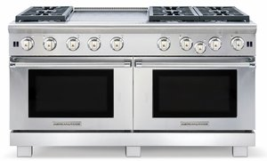 "ARR-606GDGRDFN American Range Medallion 60"" Dual Fuel Range with Sealed Gas Burners, Griddle, Grill & Electric Ovens - Natural Gas - Stainless Steel"
