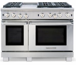 "ARROB-448GDGRN American Range Performer 48"" All Gas Range with 4 Open Burners, Grill, Griddle & Convection Oven - Natural Gas - Stainless Steel"