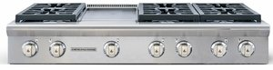 """ARSCT-486GRN American Range Legend 48"""" Cooktop with 6 Sealed Burners & Grill - Natural Gas - Stainless Steel"""