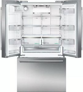 """B21CT80SNS Bosch 36"""" 800 Series 20.7 cu ft Capacity Counter Depth 3 Door French Door Refrigerator with Full Width Chiller Drawer and Dual AirCool System - Stainless Steel"""