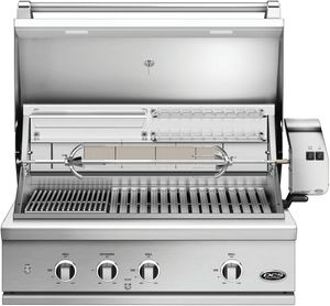 """BE136RCN DCS 36"""" 9 Series Built-In Natural Gas Grill with Charcoal Smoker Tray and Heavy Duty Infrared Rotisserie - Brushed Stainless Steel"""