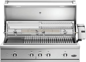 """BE148RCN DCS 48"""" 9 Series Built-In Natural Gas Grill with Charcoal Smoker Tray and Heavy Duty Infrared Rotisserie - Brushed Stainless Steel"""