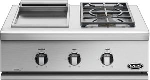 "BFGC30BGDN DCS 30"" Series 7 Liberty Griddle and 2 Burners for Built-in or On-Cart Applications - Natural Gas - Stainless Steel"