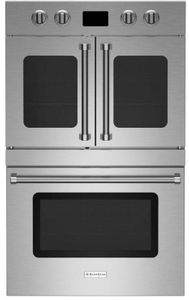 """BSDEWO30ECSDDDV2 Bluestar 30"""" Double Electric Wall Oven with French and Drop Down Door - Stainless Steel"""