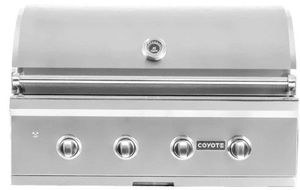 "C2C36NG Coyote 36"" C Series Outdoor Grill with Four High Performance Coyote Infinity Burners and Integrated Wind Guard - Natural Gas - Stainless Steel"