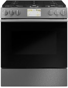 "C2S900M2NS5 Cafe 30"" Modern Glass Collection Slide-In Front Control Convection Single Oven Dual Fuel Range with Wifi Connect and Precise Air - Platinum with Brushed Stainless Steel Handles and Knobs"