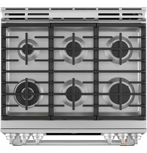 "C2S900P2MS1 Cafe 30"" Slide-In Front Control Dual Fuel Convection Range with Warming Drawer and Wifi Connect - Stainless Steel with Brushed Stainless Handles and Knobs"