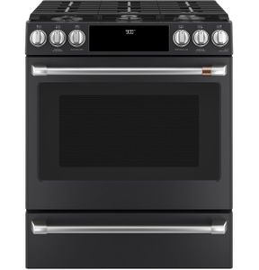 "C2S900P3MD1 Cafe 30"" Slide-In Front Control Dual Fuel Convection Range with Warming Drawer and Wifi Connect - Matte Black with Brushed Stainless Handles and Knobs"