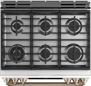 """C2S900P4MW2 Cafe 30"""" Slide-In Front Control Convection Dual Fuel Range with Warming Drawer and 6 Sealed Burners - Matte White with Brushed Bronze Handles and Knobs"""