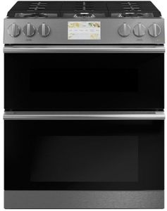 "C2S950M2NS5 Cafe 30"" Modern Glass Collection Slide-In Front Control Convection Double Oven Dual Fuel Range with Wifi Connect and Precise Air - Platinum Glass with Brushed Stainless Steel Handles and Knobs"