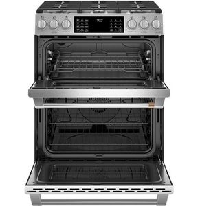 "C2S950P2MS1 Cafe 30"" Slide-In Front Control Dual Fuel Range with Wifi Connect and Double Oven - Stainless Steel with Brushed Stainless Steel Handles and Knobs"