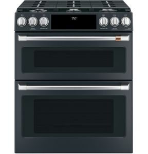 "C2S950P3MD1 Cafe 30"" Slide-In Front Control Dual Fuel Range with Wifi Connect and Double Oven - Matte Black with Brushed Stainless Handles and Knobs"