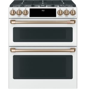 "C2S950P4MW2 Cafe 30"" Slide-In Front Control Dual Fuel Range with Wifi Connect and Double Oven - Matte White with Brushed Bronze Handles and Knobs"