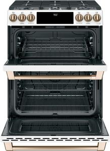 """C2S950P4MW2 Cafe 30"""" Slide-In Front Control Dual Fuel Range with Wifi Connect and Double Oven - Matte White with Brushed Bronze Handles and Knobs"""