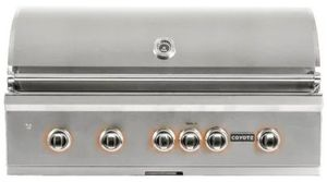 "C2SL42LP Coyote 42"" S Series Outdoor Grill with Four High Performance Coyote Infinity Burners and Integrated Wind Guard - Liquid Propane - Stainless Steel"