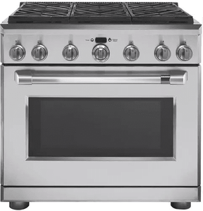"""C2Y366P2MS1 Cafe 36"""" Freestanding Professional Dual Fuel Range with Reversible Burner Gates and Self-Clean Oven - Stainless Steel with Brushed Stainless Handle"""